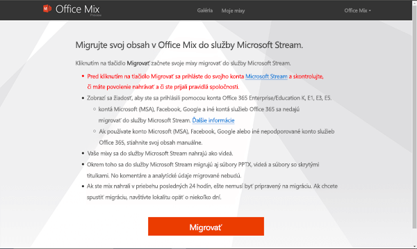 Migrácia do Microsoft Stream
