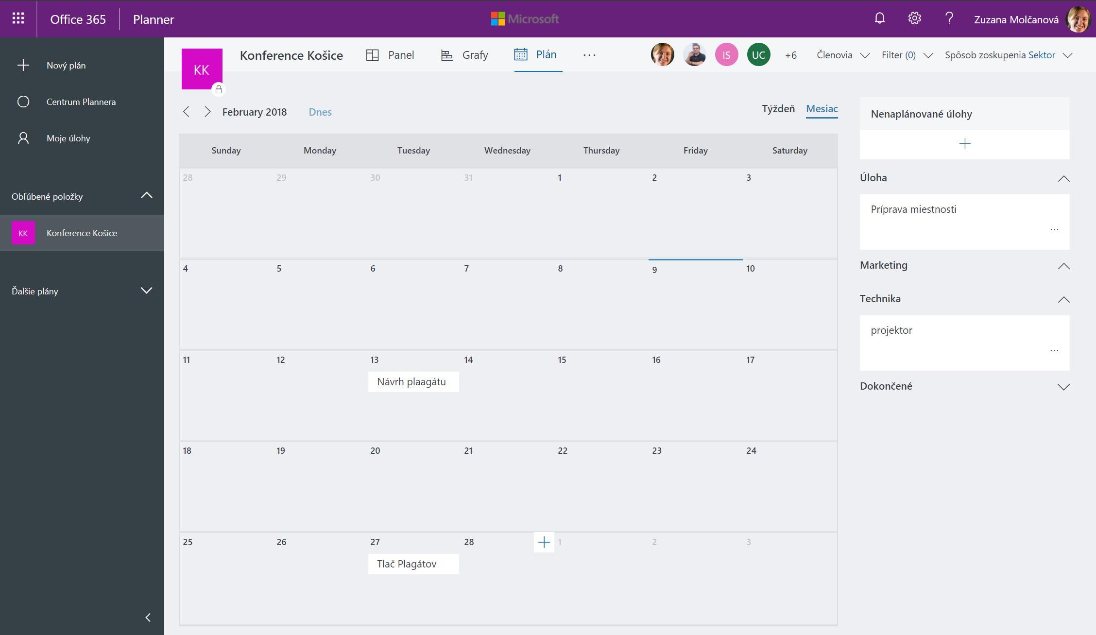 Zobrazenie typu Plán Microsoft Planner