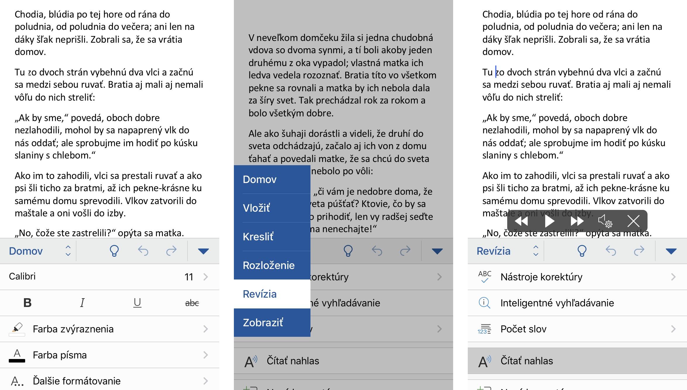 Word na iPhone podporuje čítanie nahlas