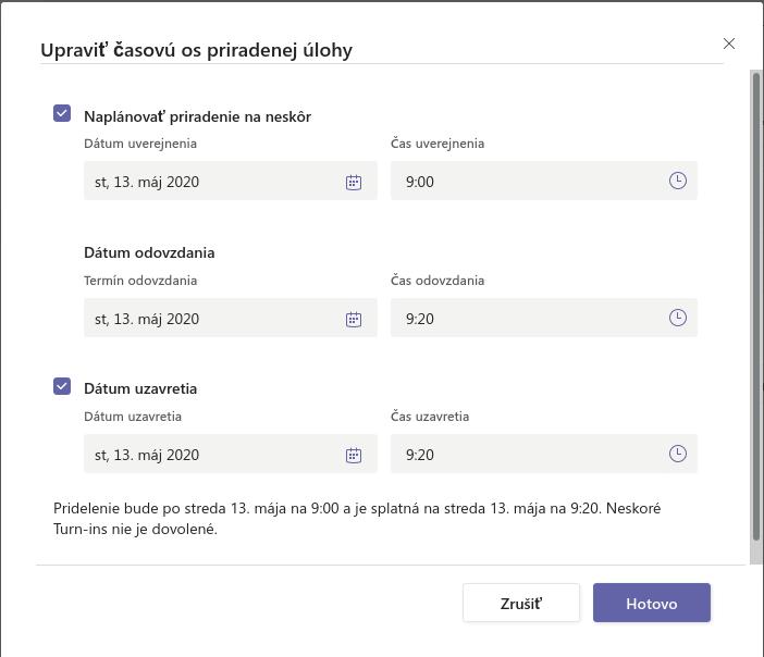 Screenshot: Okno Upraviť časovú os priradenej úlohy