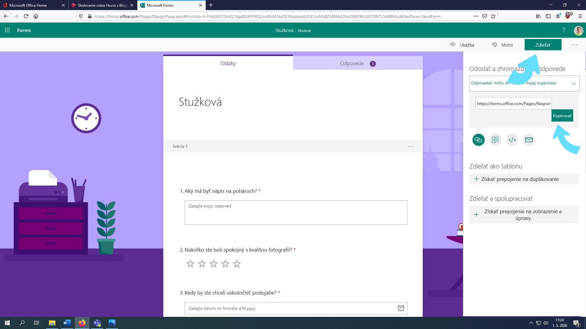 Ako zohnať URL adresu formulára v Microsoft Forms