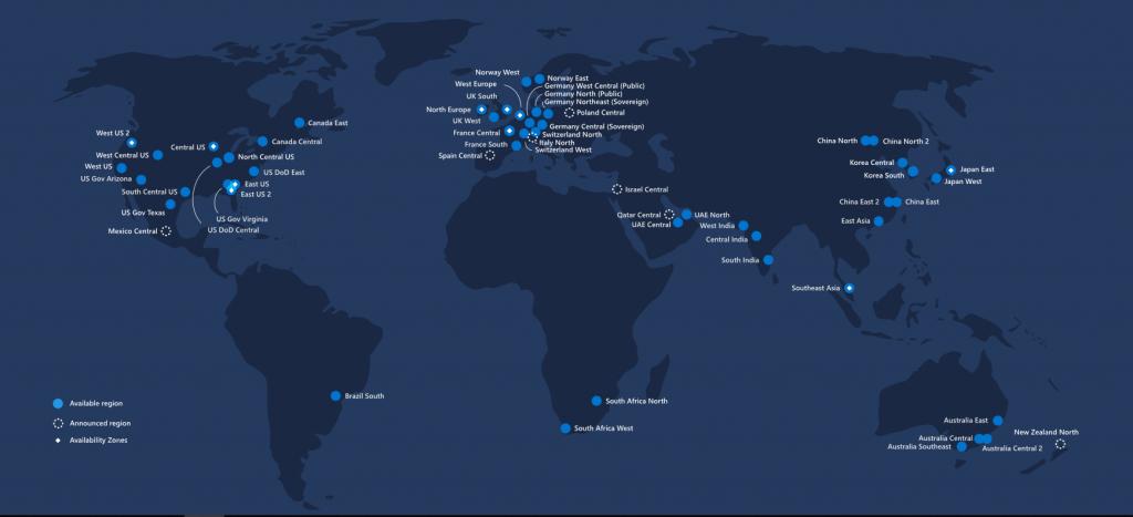 Mapa dátových centier spoločnosti Microsoft